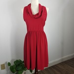 Judith March Red Cowl Neck Sleeveless Dress Size M